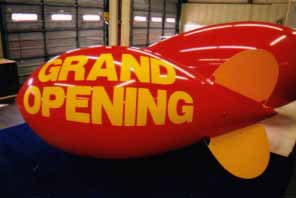 11' advertising blimp with simple artwork